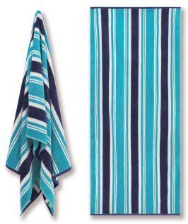 Cotton Velour Beach Towel - Aqua