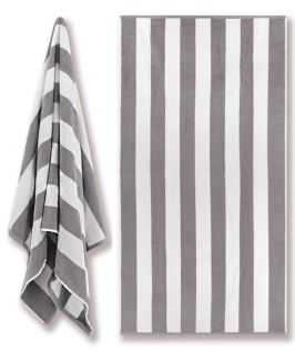 Cotton Terry Beach Towel - Cabana Stripe Grey