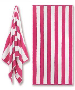 Cotton Terry Beach Towel - Cabana Stripe Pink