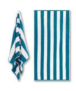 Canningvale Australia Cotton Terry Beach Towel - Cabana Stripe Oceano Teal