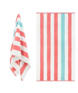 Luxury Textured Cabana Stripe Beach Towel - Coral & Aqua