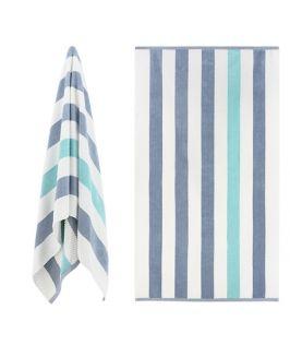 Luxury Textured Cabana Stripe Beach Towel - Grey & Aqua