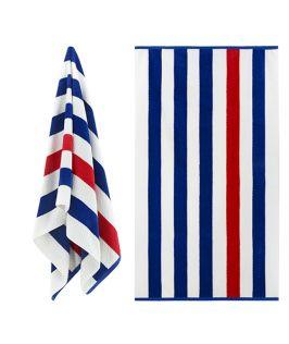 Luxury Textured Cabana Stripe Beach Towel - Royal Blue & Red