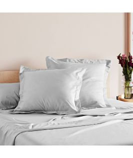 Canningvale Australia Mille 1000TC Pillowcase Twin Pack with 5cm flange - Silver Silk