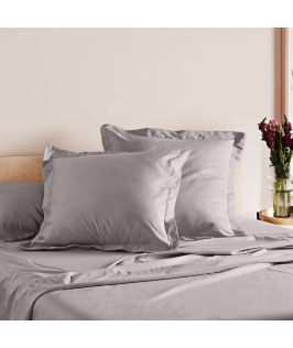 Canningvale Australia Mille 1000TC Pillowcase Twin Pack with 5cm flange - Pewter