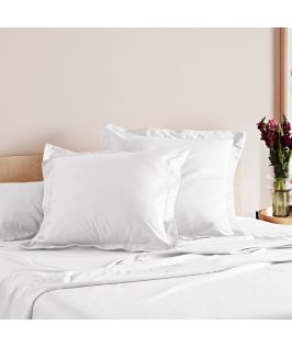 Canningvale Australia Mille 1000TC Pillowcase Twin Pack with 5cm flange - White
