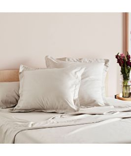 Canningvale Australia Mille 1000TC Pillowcase Twin Pack with 5cm flange - Moonbeam