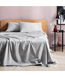Canningvale Australia Sienna Sateen Single Sheet Set Silver Silk