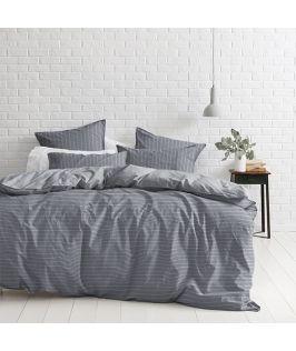 Canningvale Australia Sleep Easy Linea Queen Quilt Cover Set Denim Blue