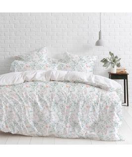 Canningvale Australia Sleep Easy Botanica King Quilt Cover Set Sea Mist