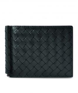 Bottega Veneta Nero Intrecciato Money Clip Bi-fold Wallet