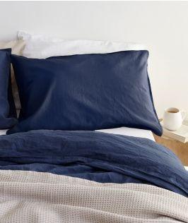 Canningvale Australia Sogno Linen Cotton Quilt Cover Set King Bed Indigo Blue