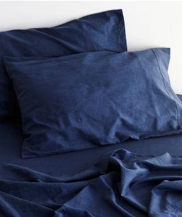 Canningvale Australia Sogno Linen Cotton Sheet Set King Bed Indigo Blue