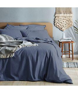 Canningvale Australia Vintage Softwash Cotton Queen Quilt Cover Set - Bombay Blue