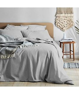 Canningvale Australia Vintage Softwash Cotton Queen Quilt Cover Set - Smokey Grey Melange