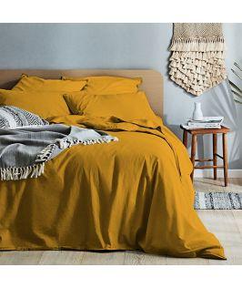 Canningvale Australia Vintage Softwash Cotton King Quilt Cover Set - Spicy Mustard