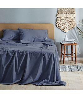 Canningvale Australia Vintage Softwash Cotton King Sheet Set - Bombay Blue