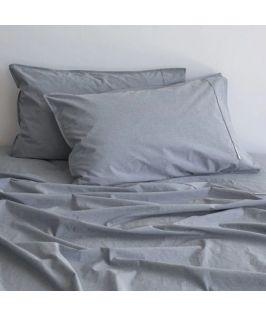 Canningvale Australia Vintage Softwash Cotton Queen Sheet Set - Denim Melange