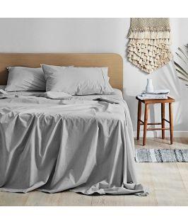 Canningvale Australia Vintage Softwash Cotton Queen Sheet Set - Smokey Grey Melange