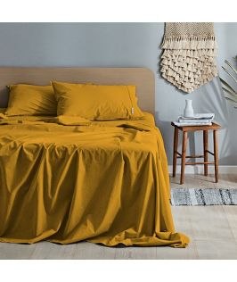 Canningvale Australia Vintage Softwash Cotton Queen Sheet Set - Spicy Mustard
