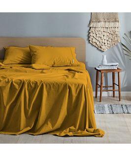 Canningvale Australia Vintage Softwash Cotton King Sheet Set - Spicy Mustard